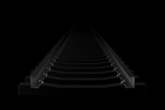Licht und schatten der eisenbahn in der dunkelheit. 3d-rendering. Premium Fotos