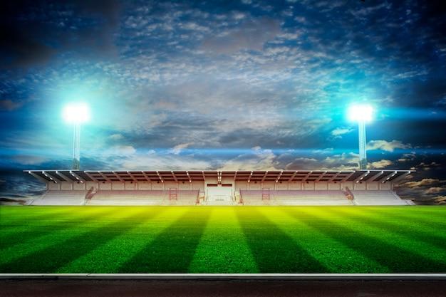 Lichter bei nacht und 3d-rendering des stadions Premium Fotos