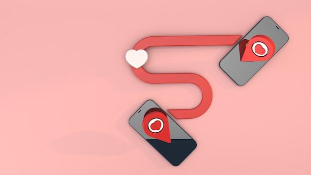 Liebe route technologie ziel und kartenzeiger mit herzsymbol Premium Fotos