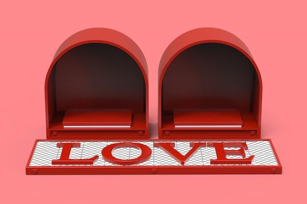 Lieben sie roten podiumraum für produktkosmetik oder geschenkringe am valentinstagfeier-feiertagsfestival mit liebestext 3d auf ausstrahlendem weißem licht, illustration 3d. Premium Fotos