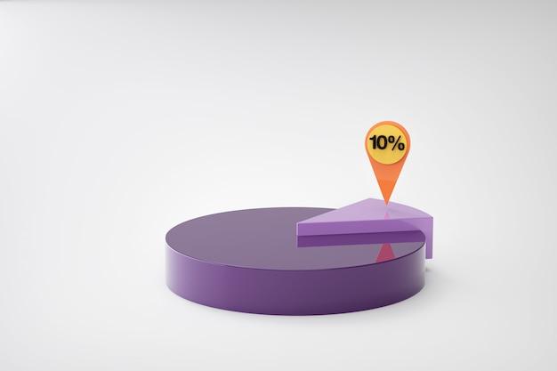 Lila kreisdiagramm mit prozentsatz Premium Fotos