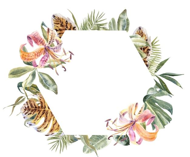 Lili flowers und tropische blätter rahmen. exotischer blumenkranz Premium Fotos