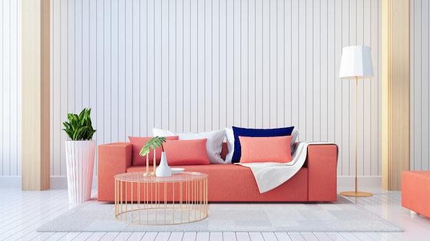 Living coral interior / farbe des jahres für festliche und valentine / 3d-rendering Premium Fotos