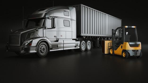 Lkw und volkslift im studioraum. Premium Fotos