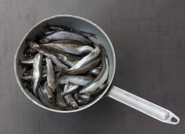 Lodde der rohen fische im alten aluminiumsieb auf einem grauen hintergrund, draufsicht Premium Fotos