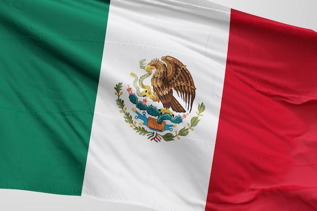 Lokalisierte mexikanische flagge, die 3d wellenartig bewegt realistische mexikanische flagge übertragen Premium Fotos