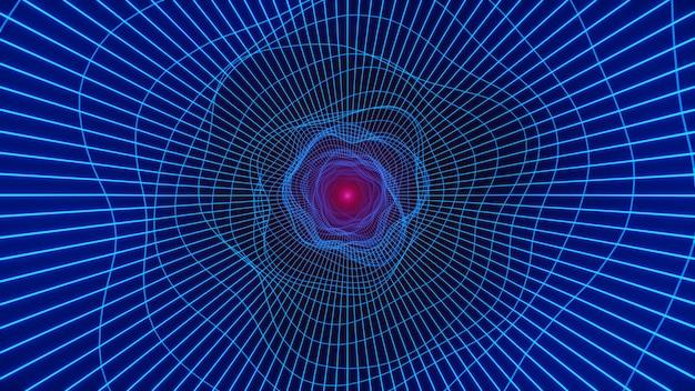 Loop tunnel wurmloch. verzerrung im science-fiction-lochwirbel-hyperraumtunnel. 3d render Premium Fotos