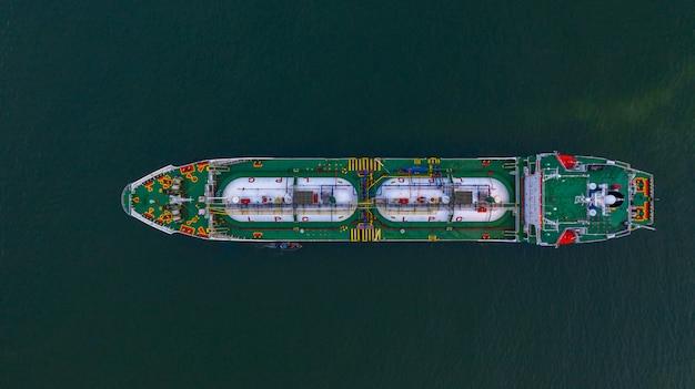 Lpg-tanker der luftdraufsicht. Premium Fotos