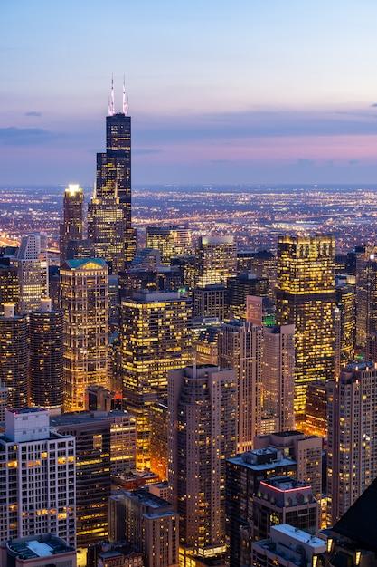 Luftaufnahme der chicago-skyline süd Premium Fotos