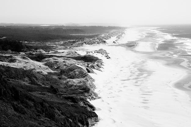 Luftaufnahme der küste nahe hügeln mit grasfeld in schwarzweiss Kostenlose Fotos