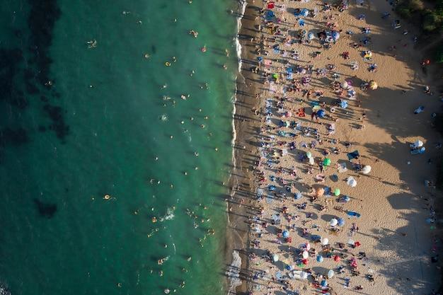 Luftaufnahme der menschenmenge am strand Kostenlose Fotos