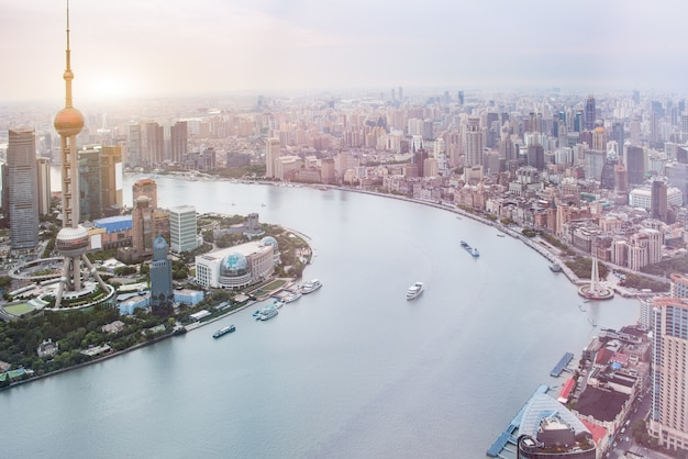 Luftaufnahme der skyline von shanghai Kostenlose Fotos