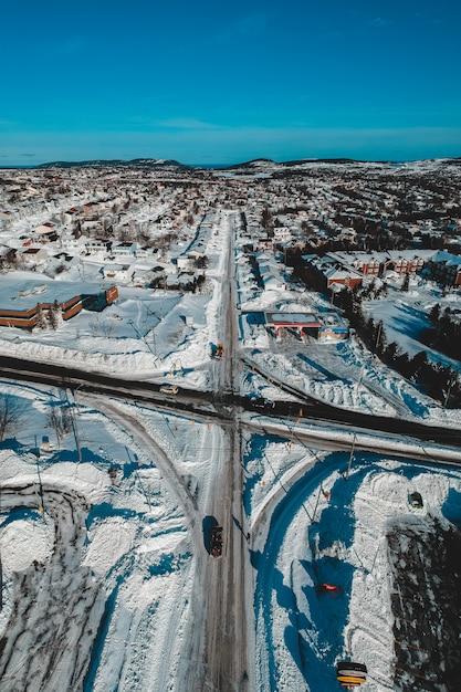 Luftaufnahme der stadt im winter Kostenlose Fotos