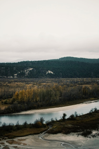 Luftaufnahme des braunen tals nahe des flusses unter dem grauen himmel Kostenlose Fotos