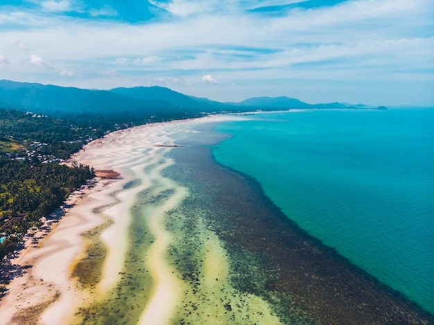 Luftaufnahme des schönen tropischen strandes und des meeres mit bäumen auf der insel Kostenlose Fotos