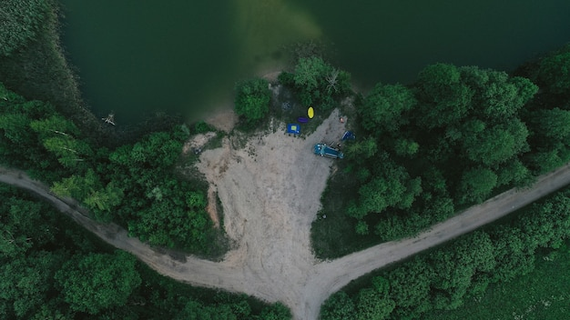 Luftaufnahme des sees Kostenlose Fotos