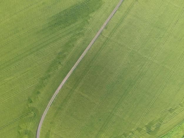 Luftaufnahme eines grünen ländlichen gebiets mit straße Premium Fotos