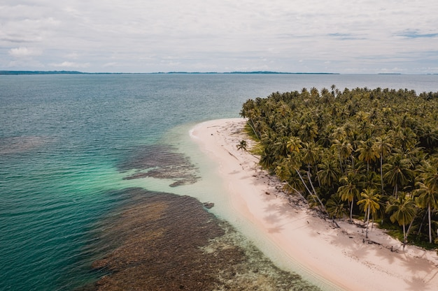 Luftaufnahme eines schönen tropischen strandes mit weißem sand und türkisfarbenem klarem wasser in indonesien Kostenlose Fotos
