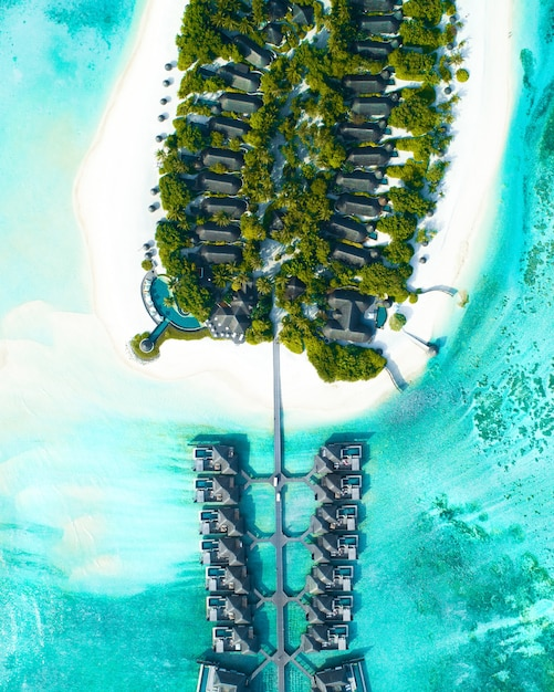 Luftaufnahme von häusern, die über dem meer und auf dem land mit bäumen auf den malediven gebaut wurden Kostenlose Fotos