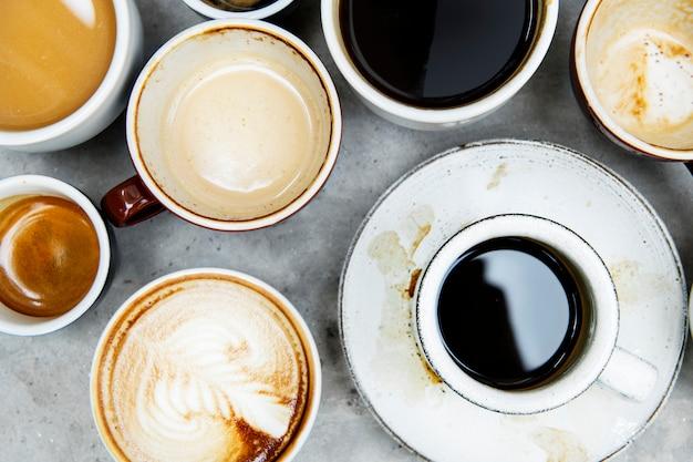 Luftbild von verschiedenen kaffee Kostenlose Fotos