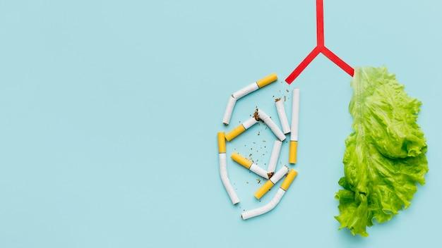 Lungenform mit salat und zigaretten und kopierraum Premium Fotos
