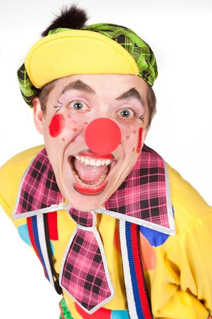 Lustiger clown getrennt auf weiß Premium Fotos