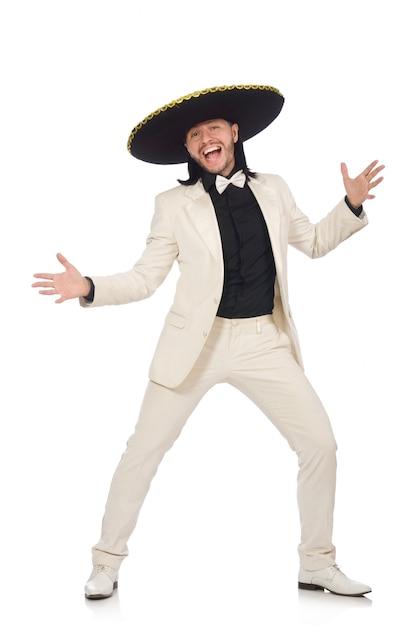 Lustiger mexikaner in der klage und in sombrero lokalisiert auf weiß Premium Fotos