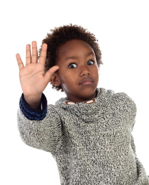 Lustiges afrikanisches kind, das halt sagt Premium Fotos
