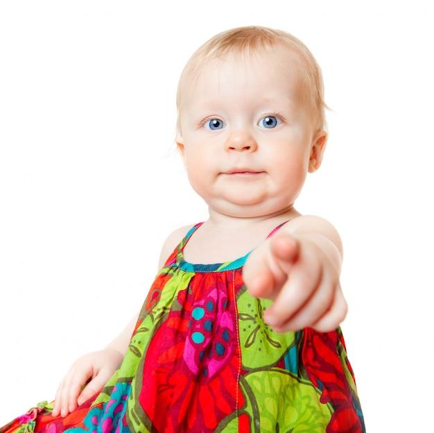 Lustiges baby, das finger zeigt Premium Fotos