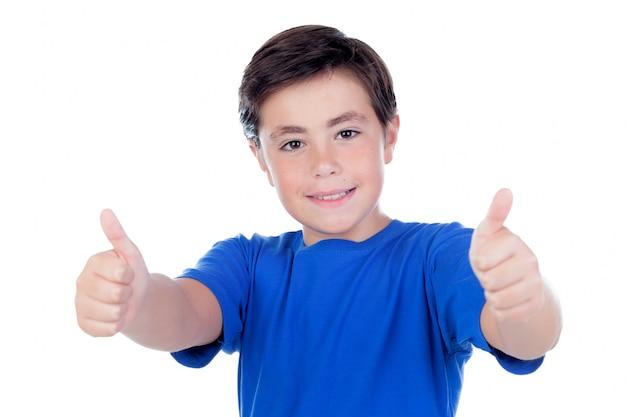 Lustiges kind mit zehn jahren altem und blauem t-shirt Premium Fotos