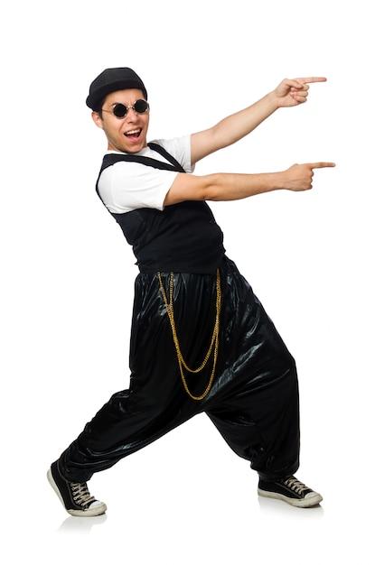Lustiges tanzen des jungen mannes getrennt auf weiß Premium Fotos