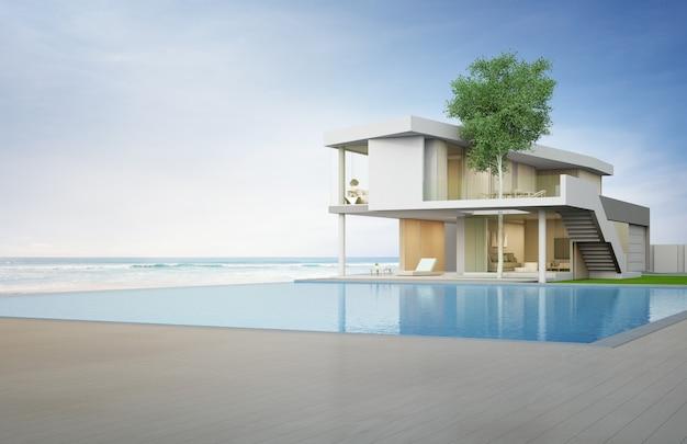 Luxuriöses strandhaus mit pool und terrasse mit meerblick in modernem design. Premium Fotos