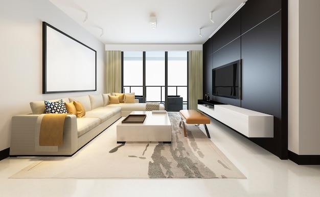 Luxus der wiedergabe 3d und modernes wohnzimmer mit gewebesofa mit rahmen Premium Fotos