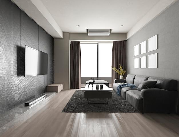 Luxus der wiedergabe 3d und modernes wohnzimmer mit gewebesofa Premium Fotos