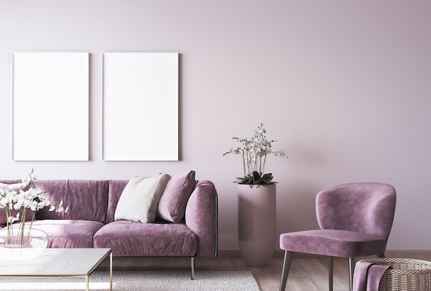 Luxus-wohnkultur mit rahmenmodell auf rosa wand Premium Fotos