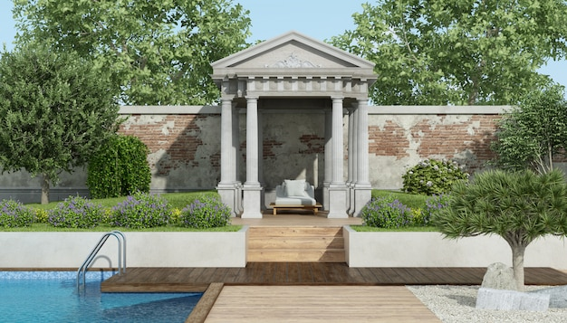 Luxusgarten mit kleinem neoklassizistischen tempel und pool Premium Fotos