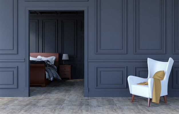 Luxusschlafzimmerinnenraum im modernen klassischen design, wiedergabe 3d Premium Fotos