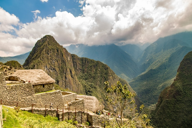 Machu picchu, cusco, peru, südamerika. ein unesco-weltkulturerbe Premium Fotos