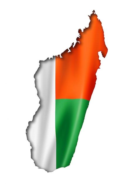 Madagaskar-flaggenkarte Premium Fotos