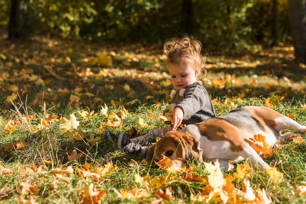 Mädchen, das nahe dem spürhundhund liegt auf gras im wald sitzt Kostenlose Fotos