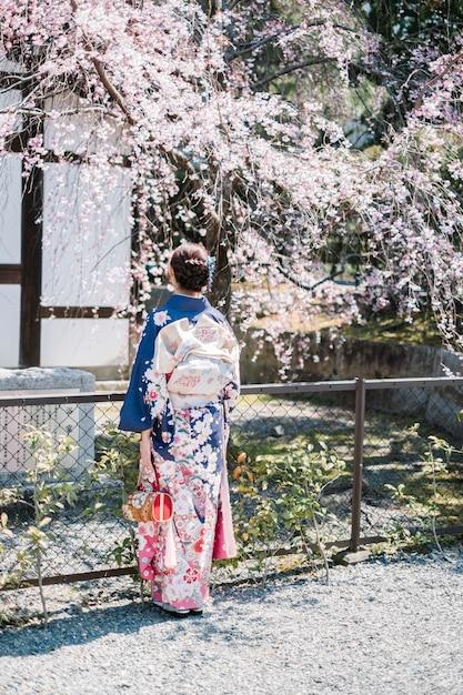 Mädchen frauen im kimono und sakura-baum Kostenlose Fotos