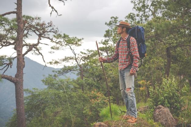 Männer stehen, um berge in tropischen wäldern mit rucksäcken im wald zu beobachten. abenteuer, reisen, klettern. Kostenlose Fotos