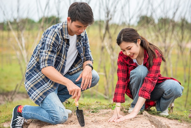 Männer und frauen helfen beim anbau von bäumen. Kostenlose Fotos