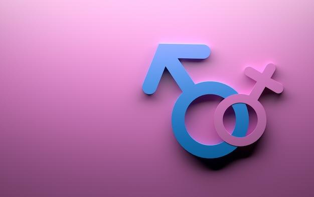 Männlich-weibliche geschlechtssymbole im rosa und im blau Premium Fotos
