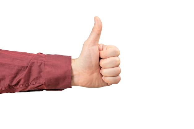 Männliche hand daumen hoch. mann hand in burgunder hemd daumen hoch. isoliert auf weißem hintergrund. Premium Fotos