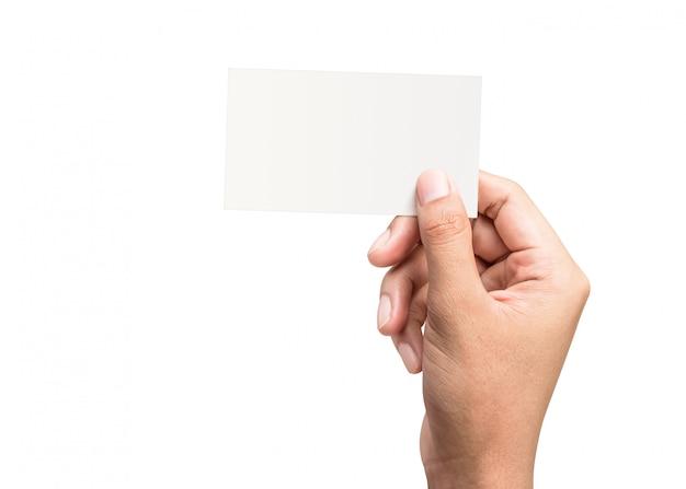 Männliche hand, die eine unbelegte visitenkarte anhält Premium Fotos