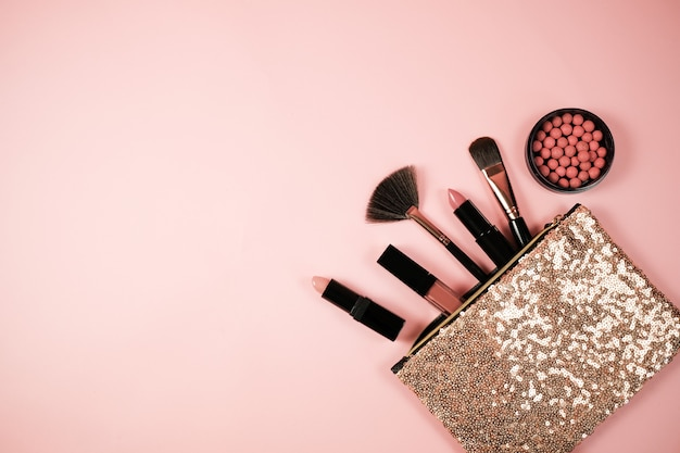 Make-up kosmetische flay lag rosa cloral Premium Fotos