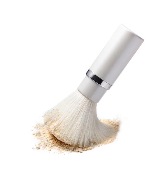 Make-up pinsel und puder auf weiß Premium Fotos