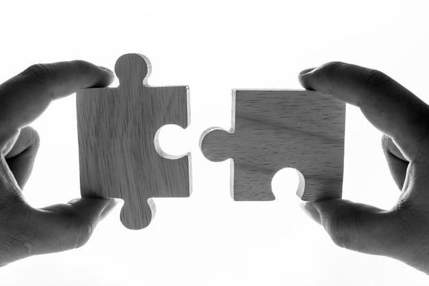 Makroschuß des puzzlespiel-teamwork-konzeptes Kostenlose Fotos