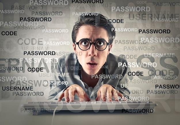 Man schreibt passwort Premium Fotos